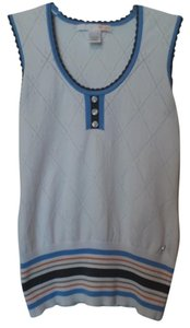 LIJA Performance Wear Athletic Golf Tennis White Blue Orange Knit Sleeveless Top