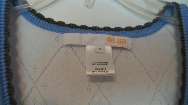 Other LIJA Performance Wear Athletic Golf Tennis White Blue Orange Knit Sleeveless Top