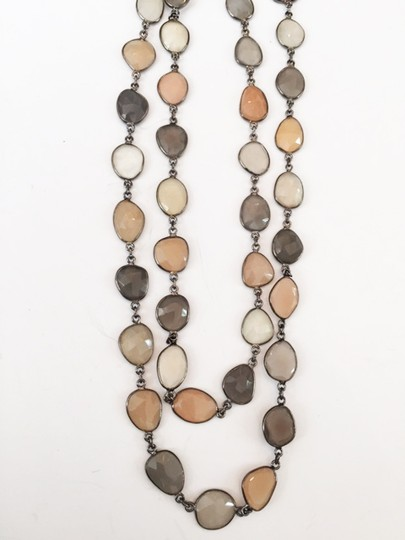 Independent Clothing Co. Peach, Grey, White Moonstone Bezel Chain Necklace