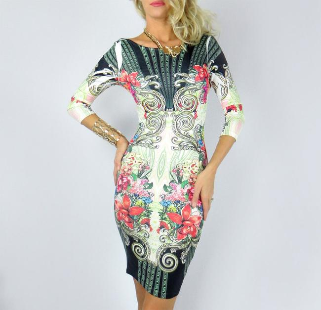 Forever 21 Floral Bodycon Sexy Hugs Curve Stretchy Elegant Dress