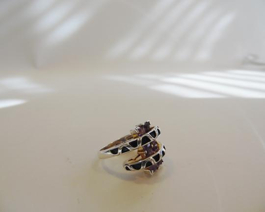 Silver Style Silver Style Amethyst & Black .925 Sterling Silver Gemstone Bypass Ring Size 7 QVC