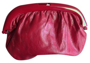 Other Leather Vintage Retro Lucite Genuine Leather Made In Italy Fire Classic Chic Red Clutch
