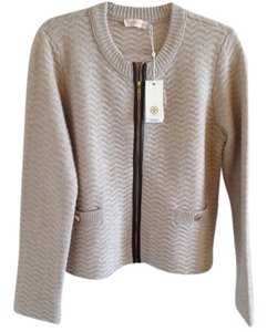 Tory Burch Sweater Leather Wool Jacket Logo Tb Cardigan