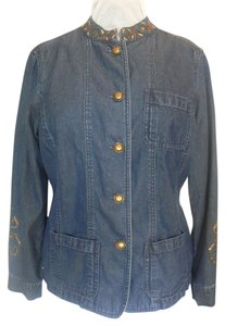 TanJay Denim 5 Button Front Embellished Asian Style Collar 3 Denim Blue Womens Jean Jacket