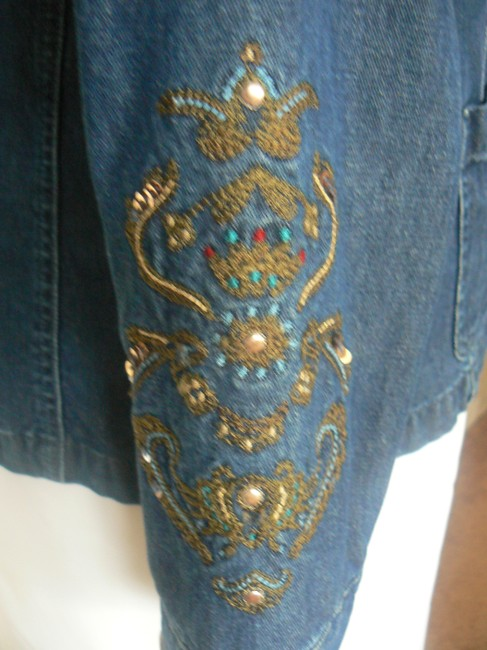 TanJay Button Front Embellished Asian Style Collar 3 Denim Blue Womens Jean Jacket