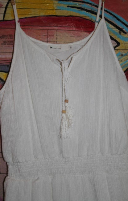 Paper Crane short dress Ivory with Blue/Red/Pink Embroidered trim Bohemian on Tradesy