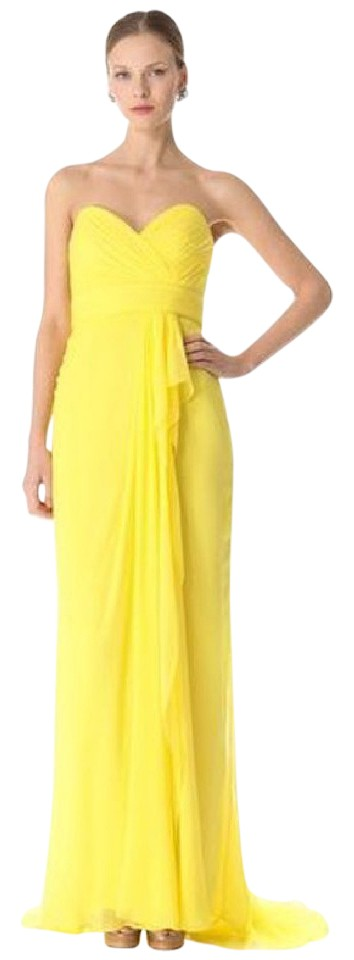 Marchesa Notte Sunny Yellow Ball Gown Long Formal Dress Size 4 (S ...