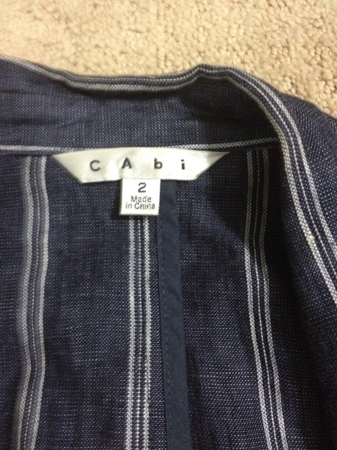 CAbi Blue with White ticking Womens Jean Jacket