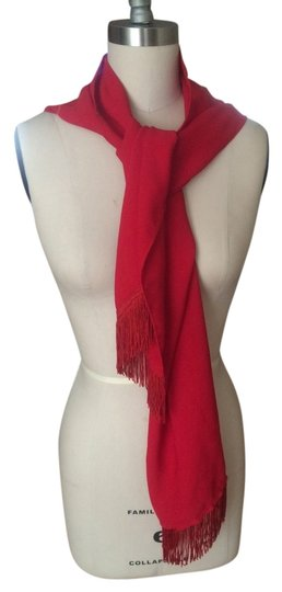 Other Red Fringed Fabric Scarf