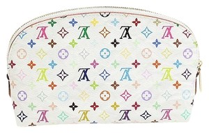 Louis Vuitton Mint Authentic Louis Vuitton Multicolore Monogram White Cosmetic Pouch w/ Litchi Interior