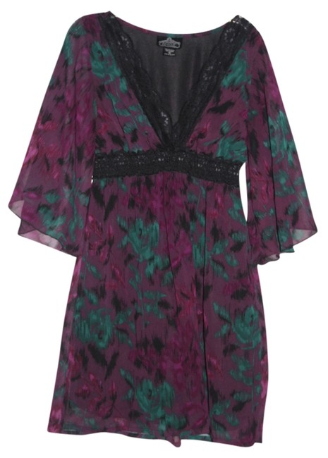 Angie short dress Purple/Teal/Black Bohemian on Tradesy