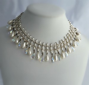 Vintage Australian Crystal And Faux Pearl Necklace - Crystal & Pearl Necklace - Mid Century Crystal Necklace - Bib