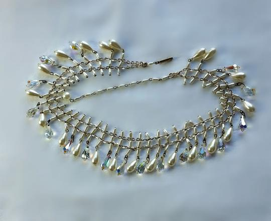 Multi-color Vintage Australian Crystal and Faux Pearl Crystal Pearl Mid Century Crystal Bib Necklace