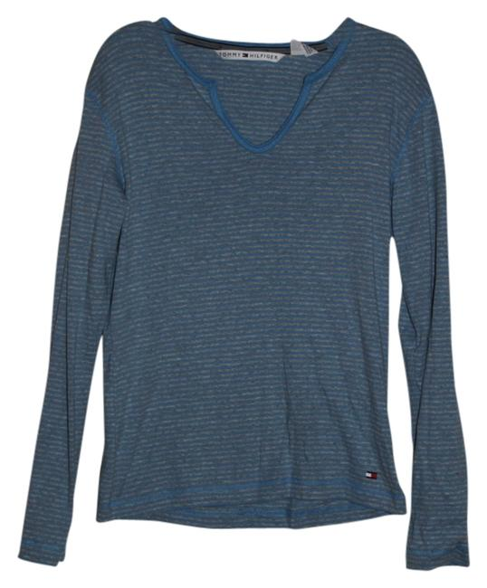 Tommy Hilfiger T Shirt Blue and Grey Stripes
