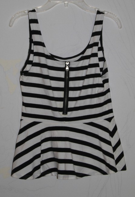 Express Top Black and White Stripes