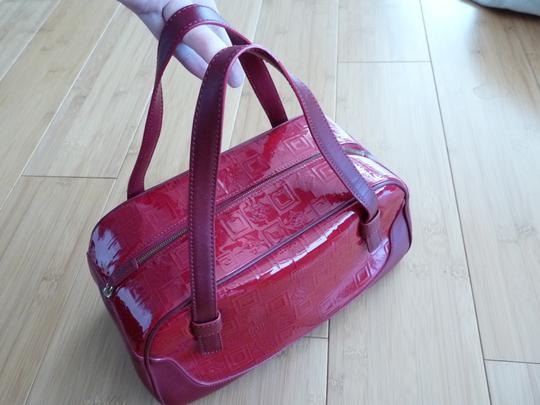 Versace Vintage High Gloss Finish Leather Satchel in red