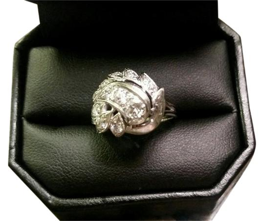 Other 14K (stamped) White Gold & Diamond Period Ring w/Diagonal Paisley Motif-antique
