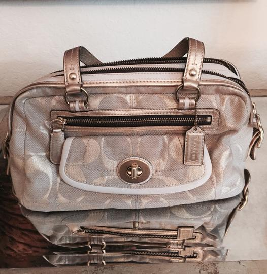 Coach Satchel in Gold and White