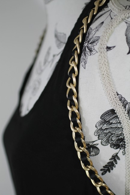 Imaginary Voyage Gold Chain Racer-back Top Black