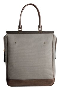 Burberry Prorsum Leather Canvas Wood Tote in beige and brown