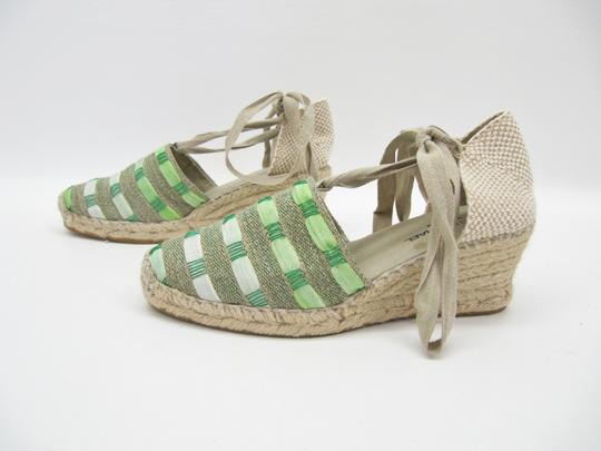 Eric Michael Beige Valenciana Woven Wedge Espadrille Green Platforms