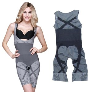 Grey Charcoal New Slimming Bamboo Underbust Shapewear Shaper Full Body Control Bodysuit (Large/Xlarge) Romper/Jumpsuit