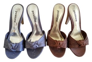 Paszionne Light Blue & Mocha Mules
