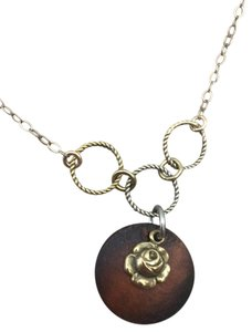 Vintage-style rose charm necklace with wood accent
