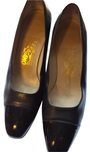 Salvatore Ferragamo Patent Leather Designer Heels Black Pumps