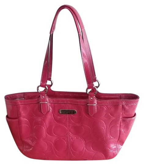 Coach Gallery Embossed Leather Pockets Tote in pink