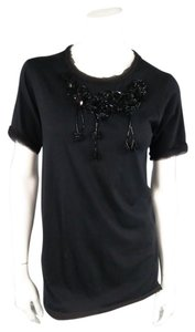Lanvin Beadwork Emblished Dressy T Shirt Black