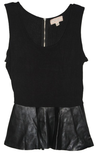 Pink Rose Top Black with synthetic leather