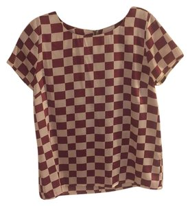 Anthropologie Top Maroon and white