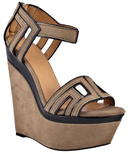L.A.M.B. Lamb Iva Wdge Sandal Leather Heel Pumps Beige Wedges
