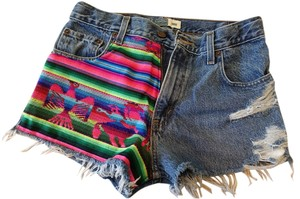 Levi's Ethnic Tribal Denim Vintage Cut Off Shorts Multi