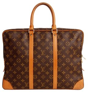 Louis Vuitton Monogram Leather Luggage Briefcase Unisex Port Document Travel Brown Travel Bag