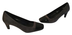Prada Suede Patent All Leather Italian Gray and black Pumps