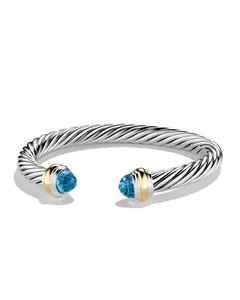 David Yurman 7mm Bracelet with Blue topaz and 14K Gold Size S
