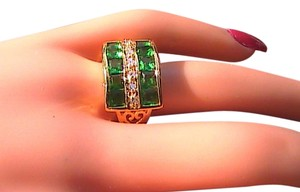 Other 14k Yellow Gold Filled Emerald & White Topaz Band Ring (Stock#4)