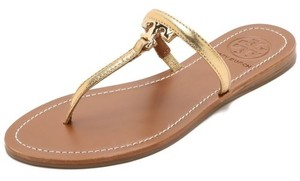 Tory Burch T Logo Flat Leather Thong Metallic Flip Gold Sandals