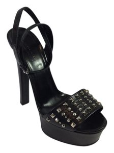 Gucci Leila Leather Studded Black Sandals