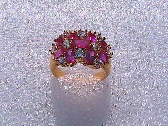 Other 14k Yellow Gold Filled Ruby & White Topaz Ring (stock#1)