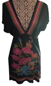 Joyce Leslie short dress Navy Floral Empire Waist V-neck Mini on Tradesy