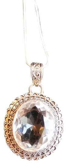 Other HUGE Genuine White Topaz 925 Sterling Silver Pendant Necklace