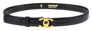 Chanel Chanel Black Leather CC Turnlock Belt