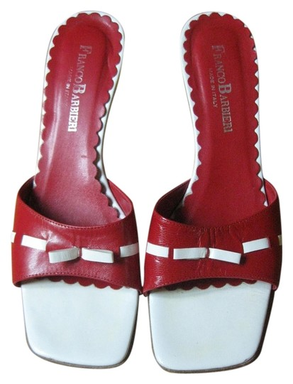 Franco Barbieri Leather Wedge Floral Bright Red Sandals