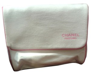 Chanel CHANEL Cosmetic makeup bag travel case Clutch white pink flap