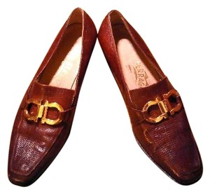 Salvatore Ferragamo Leather Lizard Brown Flats