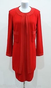 St. John St. John Caviar Red Santana Knit Dress And Jacket