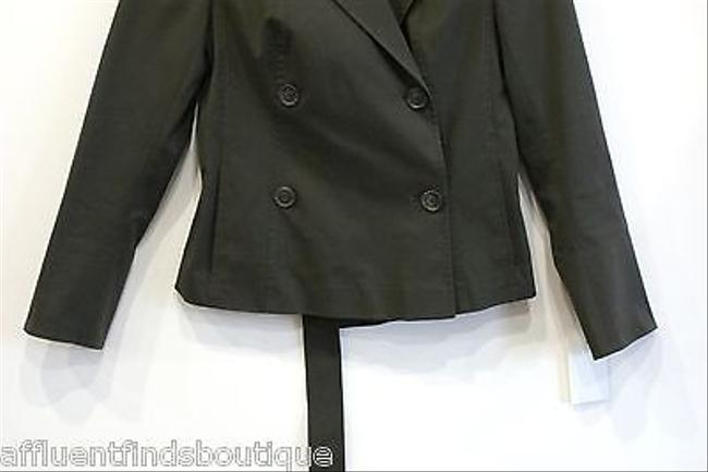 Akris Akris Bergdorf Goodman Olive Cotton Double Breasted Belted Jacket